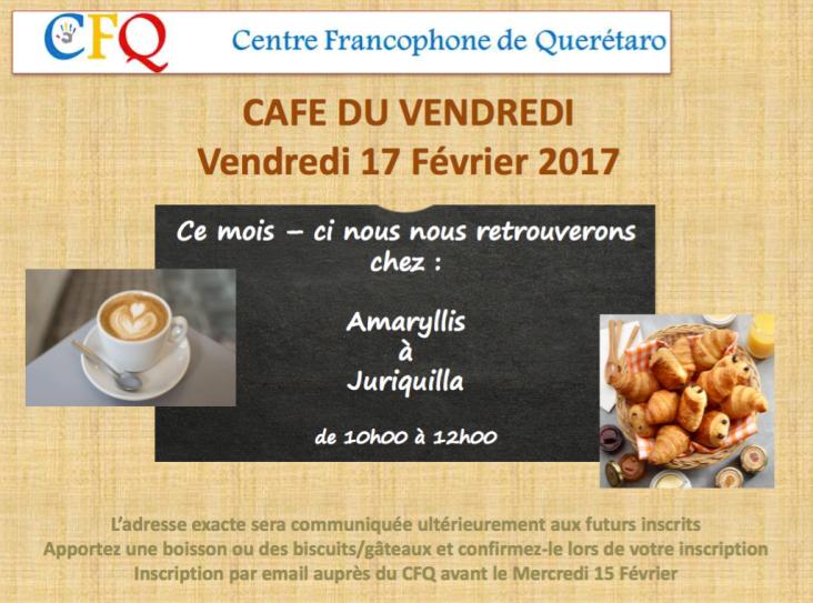 Café du vendredi : notre rendez-vous mensuel aura lieu le vendredi 17 février à partir de 10h, venez partager un moment chaleureux et consulter les bibliothèques CFQ