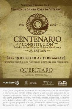 Idées sortie / culture : Si vous voulez tout connaître du centenaire de la constitution, rendez-vous pour une projection sur ce thème sur la façade de Santa rosa de viterbo du jeudi 2/2 au dimanche 5/2 toutes les 30 minutes à partir de 19h