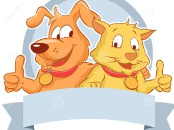 chien-et-chat-heureux-avec-un-ruban-vide-28424472